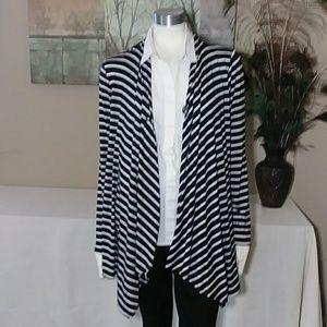 AB Studio XL Striped Asymmetrical Cardigan